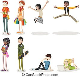 Cartoon young people