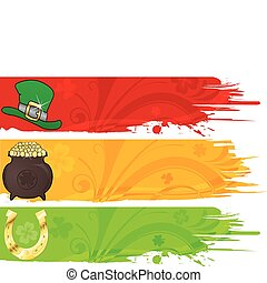 Three St. Patrick\'s Banner with hat, cauldron and horseshoe