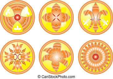 Icon set Flower, abstract icons illustration