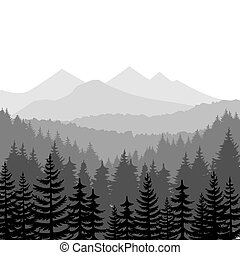 Pine forest and mountains vector backgrounds. Panorama taiga...