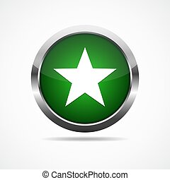 Green glossy button with star. Vector illustration.