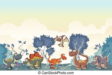 funny cartoon dinosaurs. - Forest with funny cartoon...