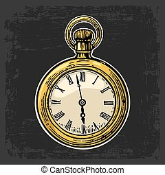 Antique pocket watch. Vector vintage color engraved illustration.