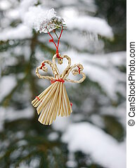 different christmas decoration hanging tree snow - different...