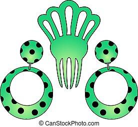 green Flamenco earrings illustration - design of green...