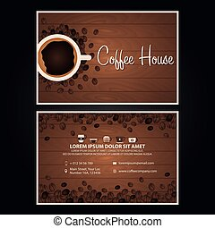 Coffee visit card. Coffee design. Coffee Day. Cup, grain, Vector illustration.