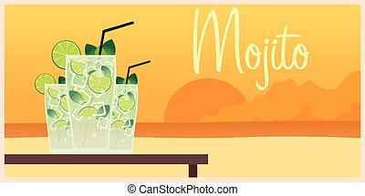 Fresh mojito with lime and green mint leaves in stylized...
