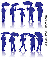Vector silhouettes man, women and child with umbrella,...