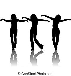 Vector silhouettes young girl, illustration