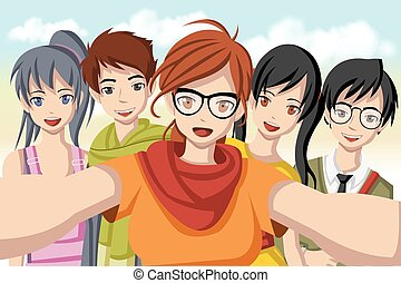 Group of cartoon young people taking selfie photo.