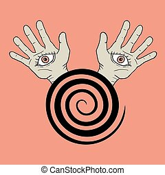 hypnosis hands illustration - design of hypnosis hands...