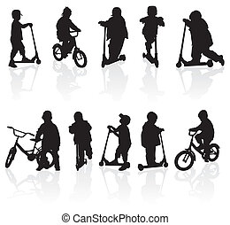 Silhouettes children - Silhouette girls and boys with...