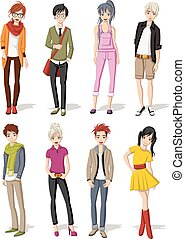 Manga anime teenagers. - Group of cartoon young people....