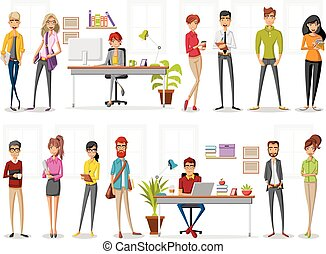 computadora, caricatura, trabajando, empresa / negocio, gente