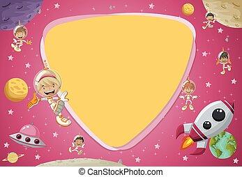 astronaut cartoon children in the space. - Futuristic screen...