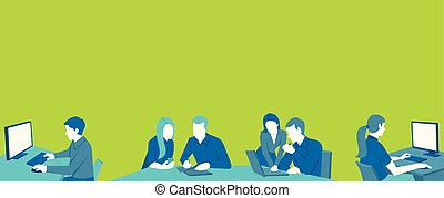 Template with cartoon business people working with computer....