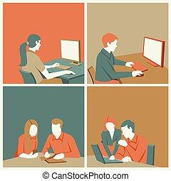 trabajando, plantilla, empresa / negocio, gente, computadora, caricatura