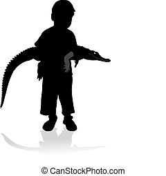 Child with crocodile, illustration