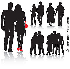 Vector silhouettes man and women, vector