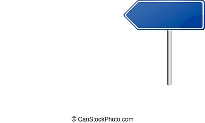 Blue Directional Road Sign - Blank destination sign with...