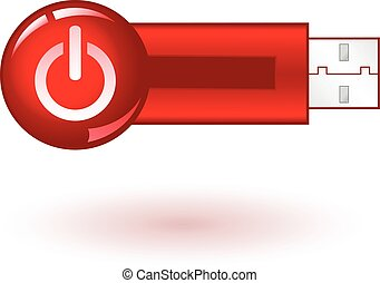 USB Pendrive with red power icon, on white background,...