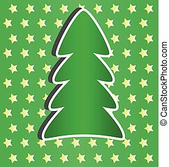 simple white Christmas card with green tree,