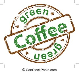 Vector green Coffee, grunge stamp