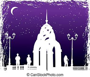 Vector silhouettes man and women on background night city,...