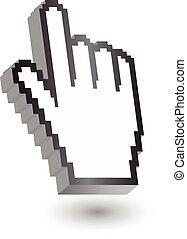 hand cursor symbol 3d,pixels,