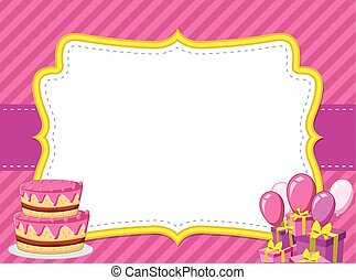 Pink card with a birthday party.