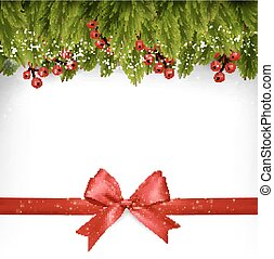 Christmas decoration with red gift bow. Vector.