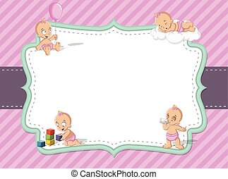 baby girl wearing diaper. Cute toddler. - Card with a baby...