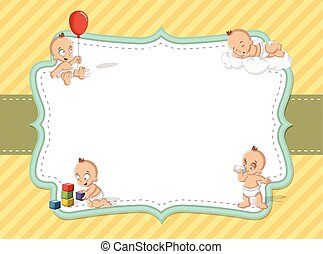 baby boy wearing diaper. Cute toddler. - Card with a baby...
