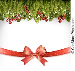 Christmas holiday decoration with red gift bow. Vector.