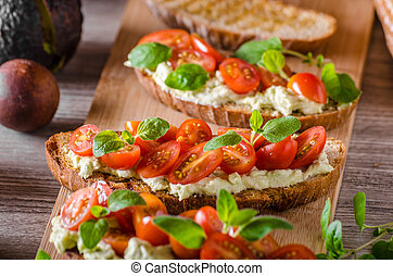 Fresh cheese panini bread with herbs