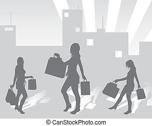 Silhouettes shopping girls on urban background