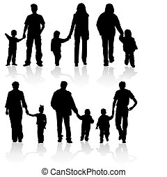 Silhouettes of parents with children