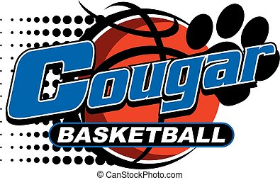 cougar basketball team design with paw print and ball for...