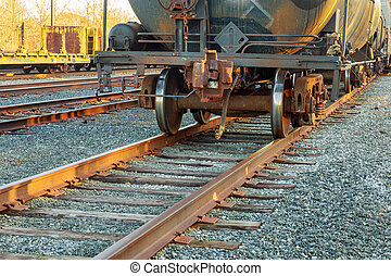 cargo wagons in the train station road railway wagons