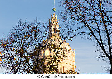 catholic cathedral of Estrela in Lisbon on autumn sunset in...