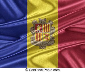 Andorra flag with a glossy silk texture. - Andorra flag....