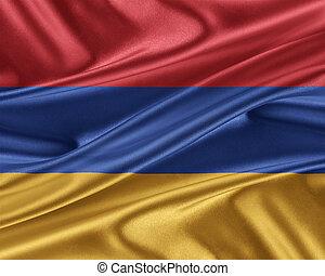 Armenia flag with a glossy silk texture. - Armenia flag....