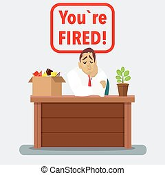 Businessman fired box with office things