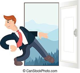 Businessman running exit door vacation