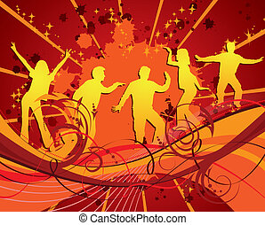Dancing silhouettes, vector - Dancing silhouettes on grunge...