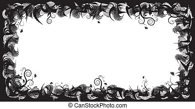 Abstract floral frame, elements for design, vector...