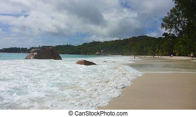Waves at Anse Lazio, Seychelles in slow motion - Waves at...