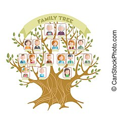 Family Tree Concept - Concept of family tree with green...
