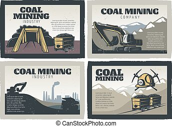 Coal Mining Designs Set - Mining industry emblem design...
