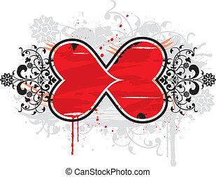 Grunge floral frame - Grunge painted floral frame with blob...